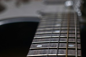 Close-up of the neck of a guitar